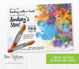 Painting Party Birthday Invitation – created and sold by NineEighteenBirthday on Etsy