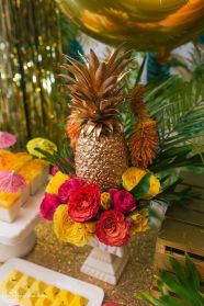Colorful Party Food Dessert Table with a Golden Pineapple – shared in a roundup post on Happy Wedd
