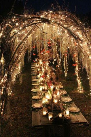 Fairy Twinkle Light Arbor over Garden Estate Table shared on Bodas Y Weddings