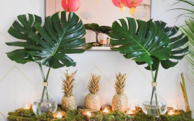 Golden Pineapple and Tropical Green Palm Leaves – shared by HOMEPOLISH