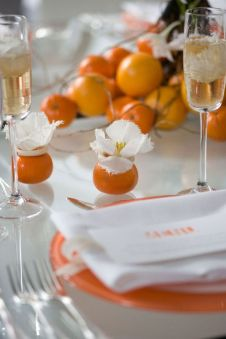 Orange and White Modern Tablescape Décor