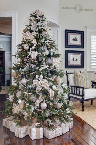 Coastal Chic Designer Christmas Tree –shared by Seahorse and Stripes