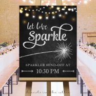 """Let Love Sparkle"" Sparkler Send Off Sign – chalkboard printable created and sold by HandsInTheAttic on Etsy"