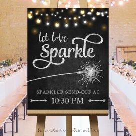 """Let Love Sparkle"" Sparkler Send Off Sign – chalkboard printable created and sold by HandsInTheAttic on Etsy"