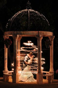 Magical Starry Sparkler Light Wedding Photo Opp Under the Gazebo – spotted on Pinterest