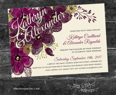 Plum and Purple Party Invitation Printable – created and sold by Time4TeaParties on Etsy