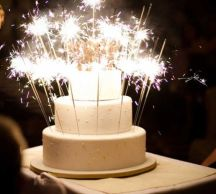 White Tiered Cake with Sparklers – shared in a round up post by Pop Sugar