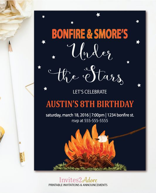 Bonfire And S More S Birthday Invitation Printable