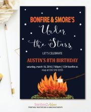 Bonfire and S'more's Birthday Invitation Printable – created and sold by Invites2Adore on Etsy