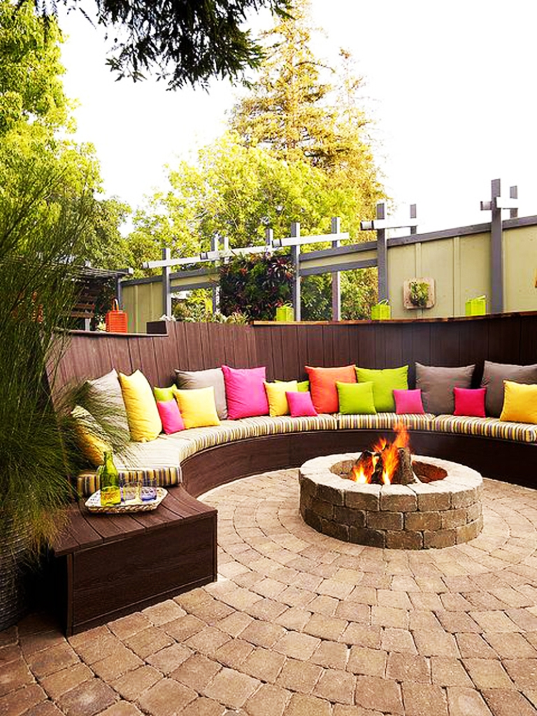 Curved Patio Bench Around Fire Pit Shared On Homebnc Unique