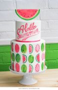 """Hello Summer"" Watermelon Tiered Cake – shared by The Cake Blog"