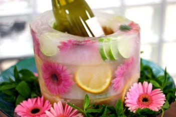 Frozen Fruit and Floral Ice Bucket – shared by eHow