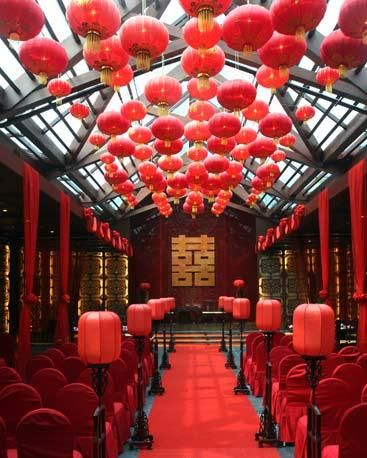 Hanging Red Paper Lantern Wedding with Chinese Influence
