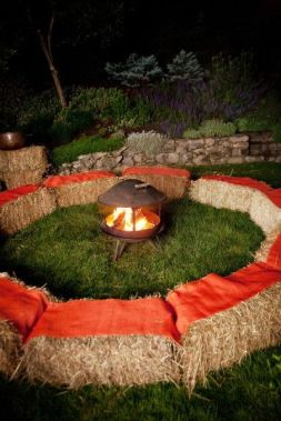 Hay Seating Around a Fire Pit