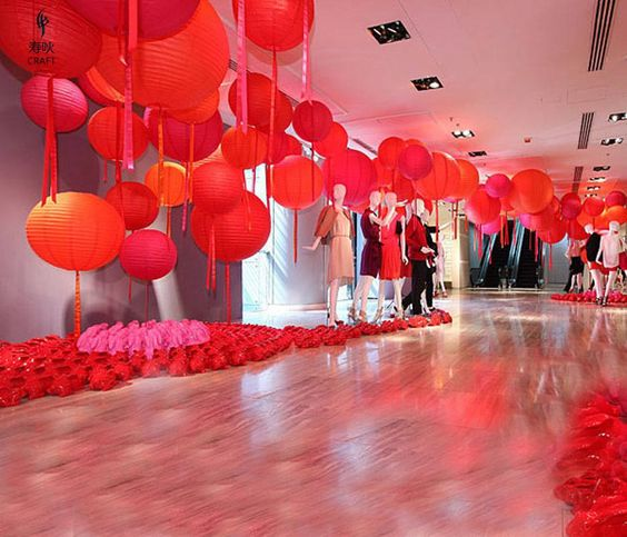 Large Red Paper Lanterns Grand Entrance