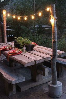 Outdoor Bench Seating with Market String Lights – shared by The Home Depot Blog