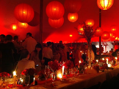 Red Wedding Reception Up Lighting with Red Paper Lanterns – shared by Bart Boehlert's Beautiful Things
