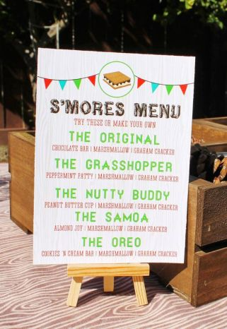 S'mores Menu Printable Download – created and sold by SweetFestivity on Etsy