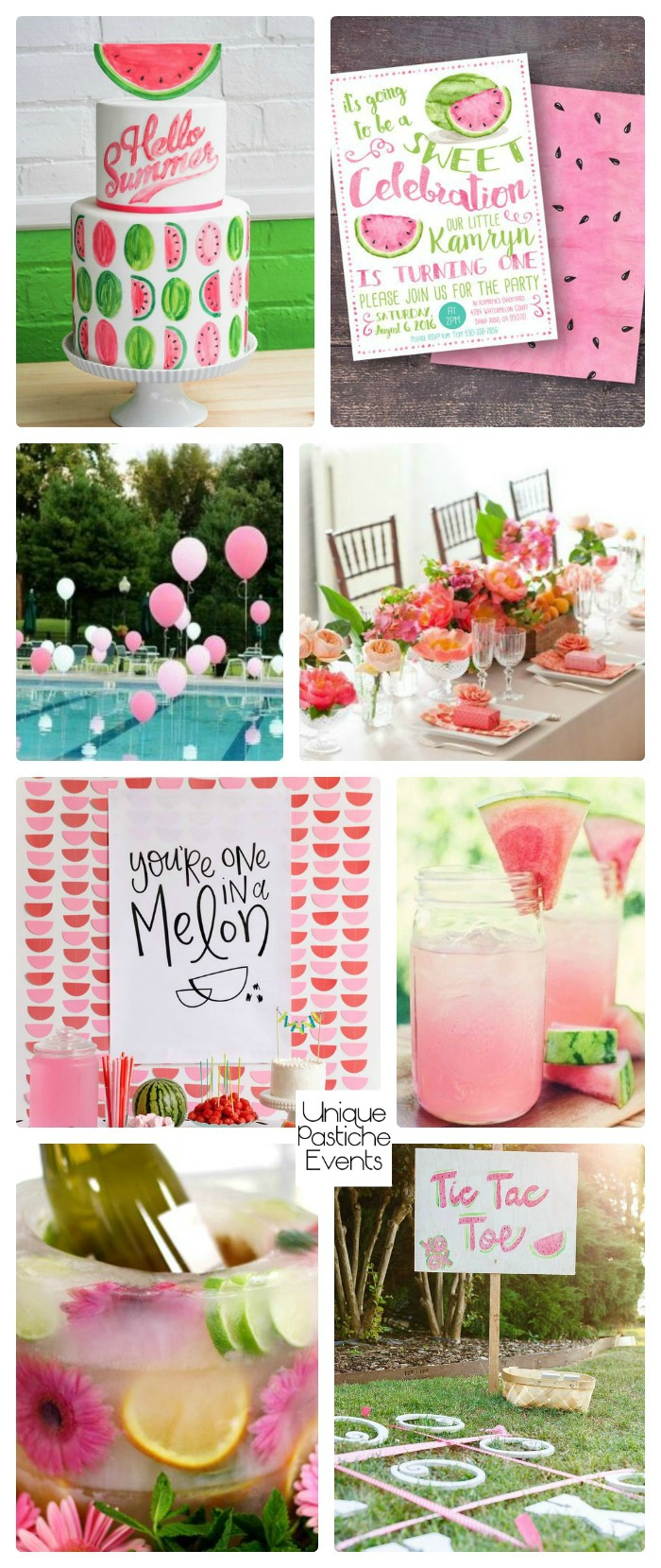 Summertime Watermelon Party Ideas Get all the details for this summer inspired party idea board with links to each element on the blog: https://uniquepasticheevents.com/2016/08/03/summertime-watermelon-party-ideas/