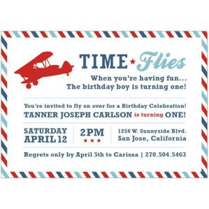 Time Flies When You're Having Fun Vintage Airplane Invitation – available on I Heart to Party