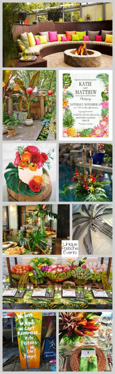 Tropical Backyard Engagement Party See all these engagement party ideas here: https://uniquepasticheevents.com/2016/08/24/tropical-backyard-engagement-party/