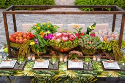 Vibrant and Tropical Centerpiece – shared in a styled shoot on Bespoke Bride