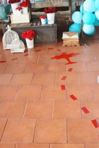 Vintage Airplane Flight Path Floor Décor – shared by Kara's Party Ideas