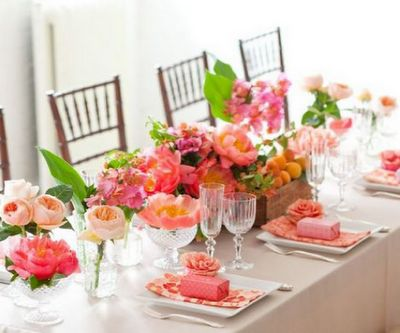 Watermelon Pink Hues Tablescape and Centerpiece – shared in a roundup post by Room for Dessert