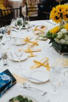 Yellow and White Airplane Tablescape and Centerpiece – shared on Every Last Detail