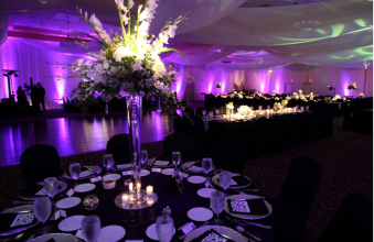 Black, Silver, and Purple Tablescape and Centerpiece – shared by Lake Receptions