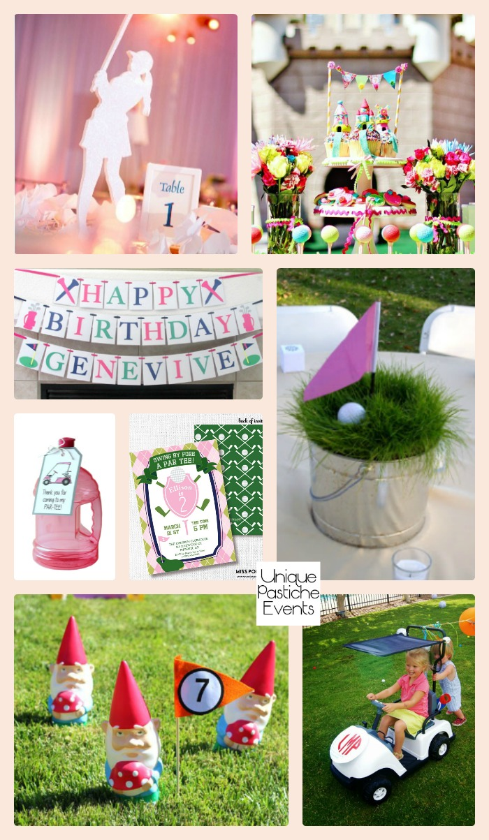 Girls Backyard Mini Golf Party Ideas Get all the ideas for this golf themed party here: https://uniquepasticheevents.com/2016/09/14/girls-backyard-mini-golf-party-ideas/