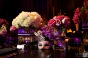 Glamourous Masquerade Centerpiece with Purple and Silver Mirror – designed by Red Carpet Events & Design