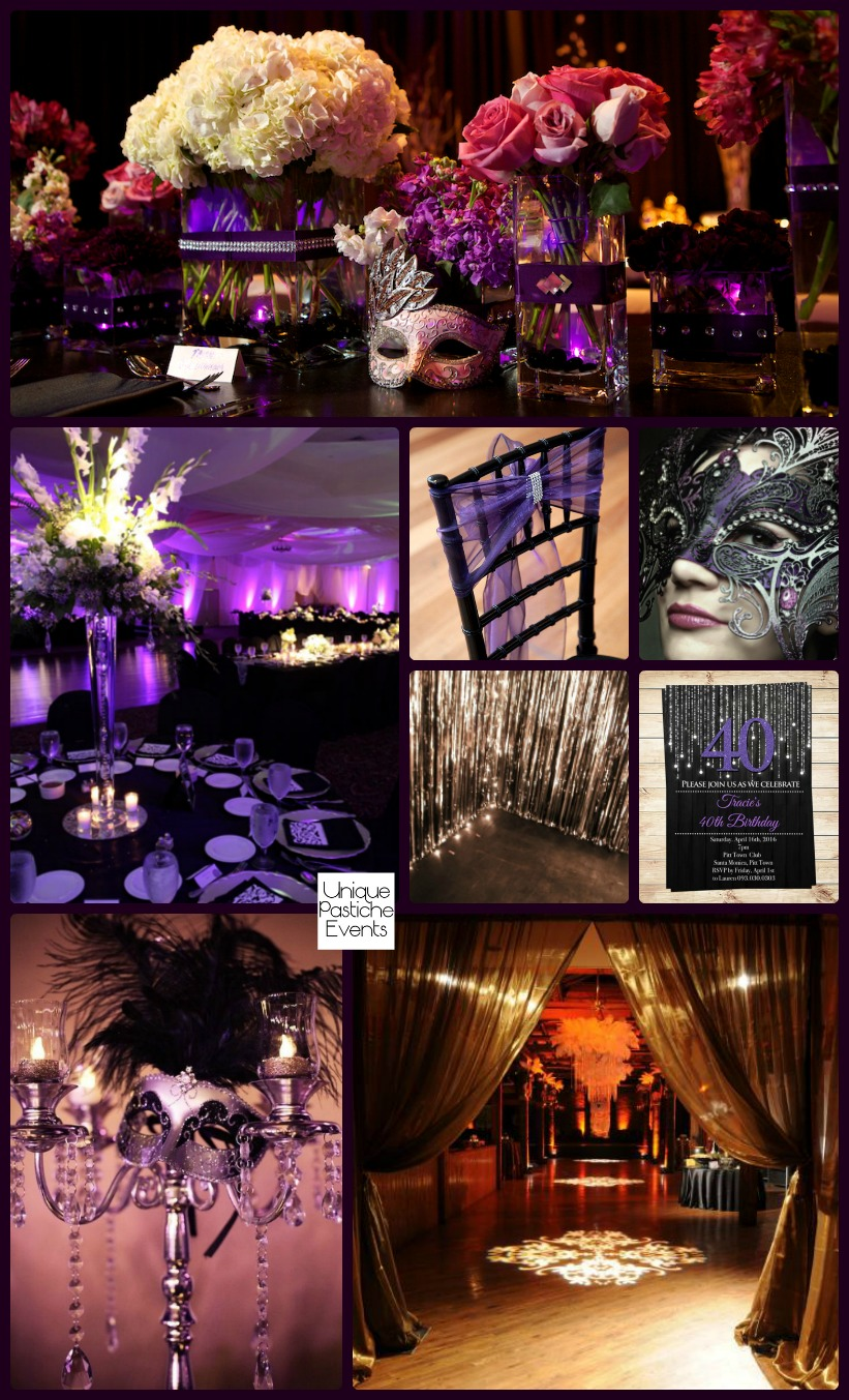 Moonlight Masquerade Ball in Black, Purple, and Silver Read more about this idea board here: https://uniquepasticheevents.com/2016/09/21/moonlight-masquerade-ball-in-black-purple-and-silver/