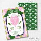 Pink and Green Preppy Golf Birthday Party Invitation – created and sold by misspokadot on Etsy