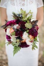 Plum and Purple Flower Wedding Bouquet – shared by Field and Florist