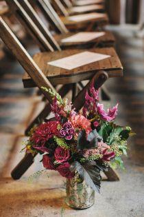 Plum Wedding Aisle Décor Flower Arrangements – shared on Ruffled