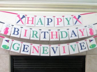 Preppy Pink, Blue, and Green Girl's Golf Birthday Banner – created and sold by Tickled Glitzy on Etsy