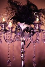 Silver Candelabra Centerpiece with Crystal Accents and a Black and Silver Masquerade Mask – shared by Kapture Vision