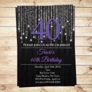 Star Drop Silver, Purple, and Black Invitation – created and sold by DIYPartyInvitation on Etsy
