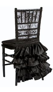 Black Chantilly Lace Chair Corset with Havana Skirt – available through Wildflower Linen
