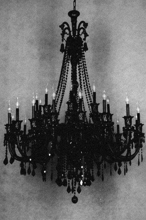 Black Crystal Chandelier – shared in a roundup post on Weddingomania