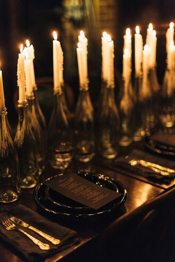 Black on Black Table Setting with Candle Centerpiece \u2013 shared on LANE & Rustic Goth Wedding by Candlelight \u2013 Halloween Wedding Ideas ...