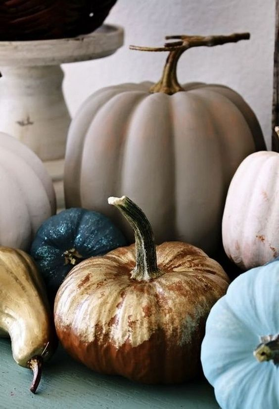 Blue, Taupe, Metallic, and Ivory Pumpkin Display – spotted on Pinterest