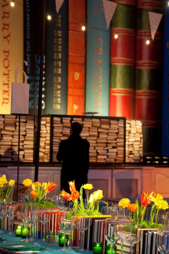 Book Theme Centerpiece and Giant Book Event Décor – created by David Stark Design