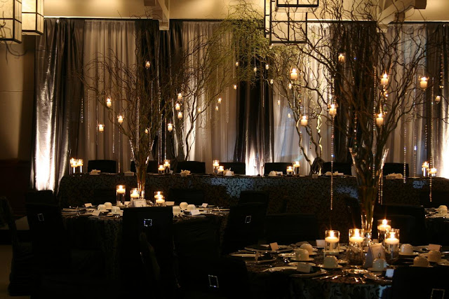 Branch Centerpiece With Candles And Crystal Accents Over
