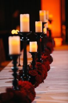 Candles on Black Candlestick Aisle Décor Or Centerpiece with Red Roses – shared on United with Love