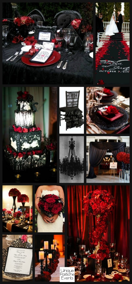 Glamorous Gothic Halloween Wedding in Black and Red #thisisUPevents