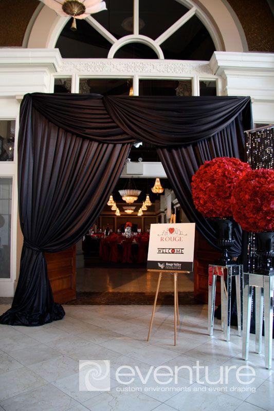 Grand Entrance With Black Drapery And Red Rose