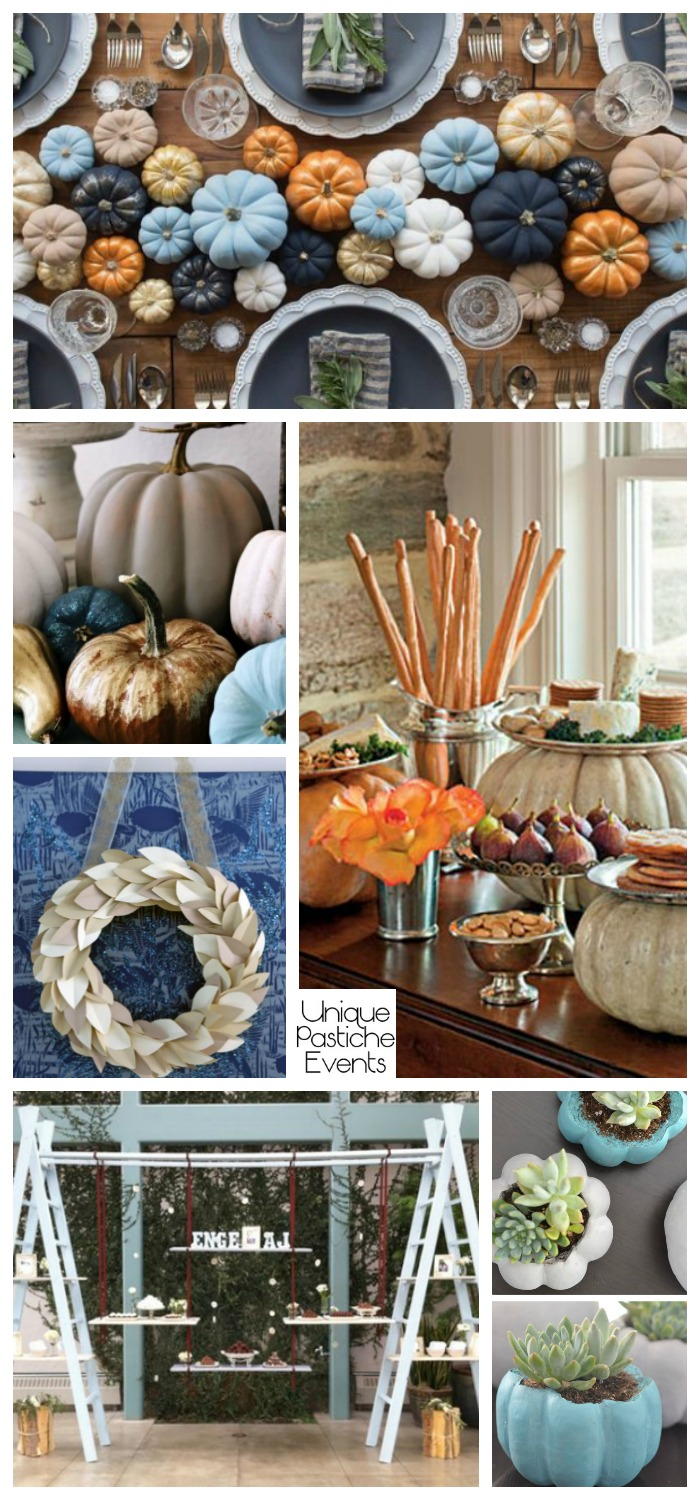 Modern Blue Pumpkin Thanksgiving Décor Ideas – in Light Blue and Navy Blue See all the decor ideas here: https://uniquepasticheevents.com/2016/11/02/modern-blue-pumpkin-thanksgiving-decor-ideas-in-light-blue-and-navy-blue/