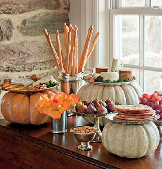 Modern Pumpkin Food Buffet Display for Thanksgiving – shared on About.com